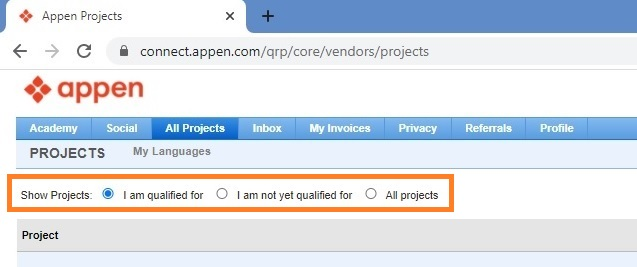 "screenshot of the ""show projects"" section on Appen Connect"